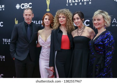 TORONTO, CANADA - MARCH 31, 2019: Phillip Sternberg, Dani Kind, Juno Rinaldi, Catherine Reitman, and Sarah McVie at 2019 Canadian Screen Awards.