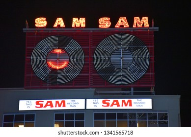 Toronto, Canada - March 6, 2019: The iconic neon sign from the Sam The Record Man store on Yonge Street.  The store closed in 2007 and the sign was remounted on a nearby building in 2018.