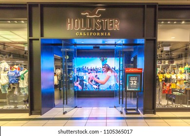 Toronto, Canada - May 05, 2018: Hollister store front in the Eaton Centre shopping mall in Toronto. Hollister Co. is an American lifestyle brand.