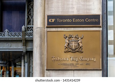 Toronto, Canada - May 05, 2019: Hudson's Bay sign in downtown Toronto. The Hudson's Bay Company is a Canadian retail business group.