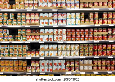 TORONTO, CANADA - MAY 06, 2014: Canned food products in a supermarket. Canned foods consumption has declined in North America as the economy improves and consumers spending more on fresher food items.