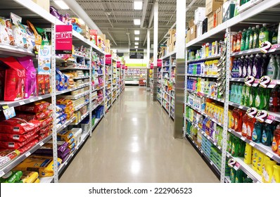 TORONTO, CANADA - MAY 06, 2014: FreshCo supermarket on May 6, 2014 in Toronto, Ontario, Canada. FreshCo is a Canadian discount supermarket chain owned by Sobeys Inc which was launched in May 2010.