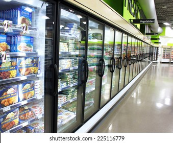 TORONTO, CANADA - MAY 06, 2014: Frozen foods in a supermarket in Toronto, Canada. In North America, consumption of frozen food has increased in recent years, mostly due to people's busy lifestyle.