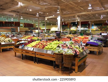 TORONTO, CANADA - MAY 06, 2014: Loblaws supermarket in Toronto, Ontario, Canada. Loblaws is Canada's largest food distributor and supermarket chain with over 70 stores in Canada.