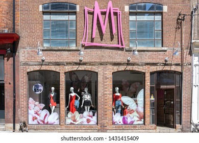 Toronto, Canada - May 06, 2019: MEC (Mountain Equipment Co-op ) store in downtown Toronto, Canada. MEC is a Canadian consumers' cooperative sells outdoor recreation gear and clothing.