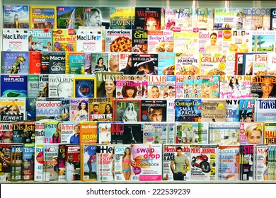 TORONTO, CANADA - MAY 07, 2014: Magazines on display in a store in Toronto, Ontario, Canada. There are more than 1300  English and French magazines that are published in Canada.