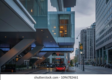 TORONTO, CANADA - MAY 09, 2018: The Ritz - Carlton Hotel entrance in Downtown  of Toronto