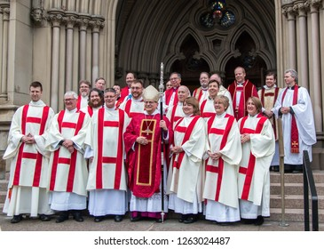 TORONTO, CANADA - MAY 1, 2016: Colin Johnson, Anglican archbishop of Toronto. With ordained deacons at Cathedral Church of St. James, Toronto, Canada.