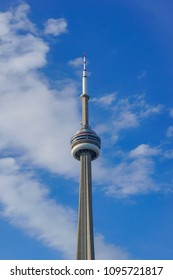 TORONTO, CANADA - MAY 18, 2018:  The CN Tower top -  the apex close up on a cloudy blue sky background