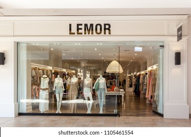 Toronto, Canada - May 18, 2018:  LEMOR storefront at Bayview Village Shopping Centre in Toronto, a Women's clothing store sale Prom, Bridesmaids, Special Occasion Dresses.