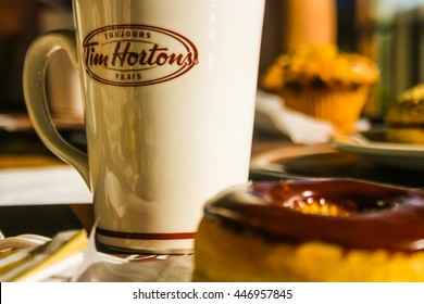 Toronto, Canada - May 2016: Tim Hortons coffee and donut