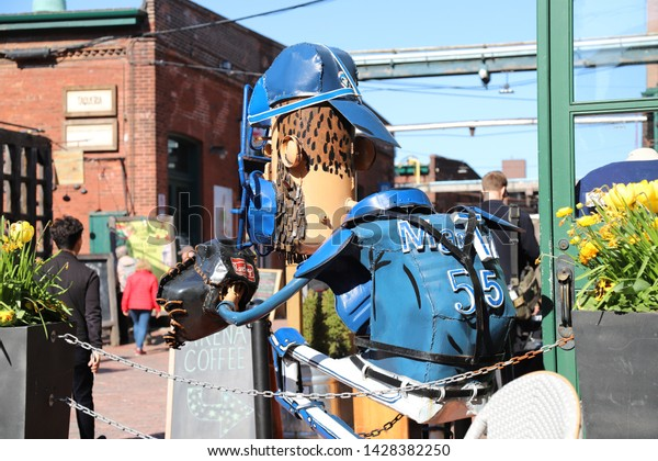 TORONTO, CANADA - MAY, 2019: Distillery District (the former Gooderham & Worts Distillery) entertainment and historic area