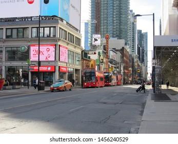 Toronto, Canada: May 2019 - Yonge Street in Toronto