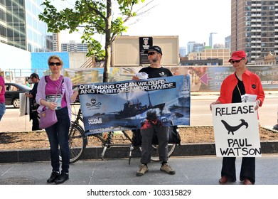 TORONTO, CANADA  MAY 23:  Protesters gather at Yonge and Bloor to protest the arrest and potential extradition of Sea Shepherd founder Paul Watson May 23, 2012 in Toronto, Canada.