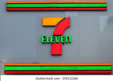 TORONTO, CANADA - MAY 25: 7-Eleven convenience store sign on May 25, 2013 in downtown Toronto, Ontario, Canada. 7-Eleven is the world's largest operator, licensor and franchisor of convenience stores.