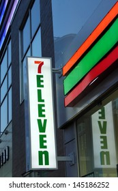 TORONTO, CANADA - MAY 25: 7-Eleven convenience store sign on May 25, 2013 in downtown Toronto, Ontario, Canada. 7-Eleven is the world's largest operator, franchisor and licensor of convenience stores.