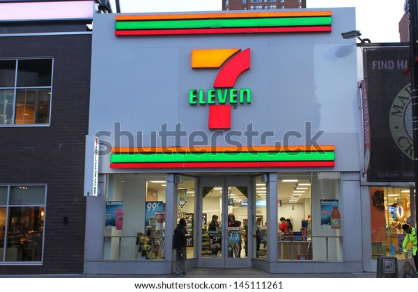 TORONTO, CANADA - MAY 25: 7-Eleven convenience store on May 25, 2013 in downtown Toronto, Ontario, Canada. 7-Eleven is the world's largest operator, licensor and franchisor of convenience stores.