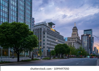 TORONTO, CANADA - MAY 26, 2018: University Avenue and Queen Street West Intersection. Canada Life and TATA buildings