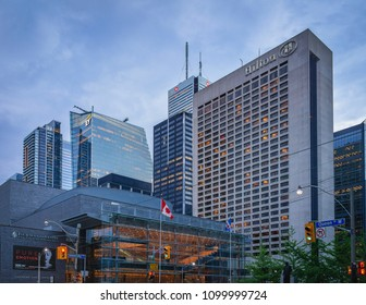 TORONTO, CANADA - MAY 26, 2018: University Avenue and Queen Street West Intersection.  Four Seasons Centre, Hilton, Bank of Montreal and  facades  other nearby high-rise buildings and skyscrapers