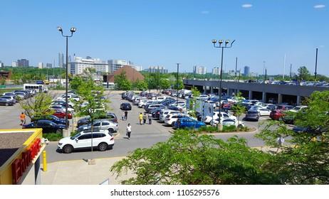 TORONTO, CANADA - MAY 27, 2018: Ikea parking lot in Toronto, Canada.