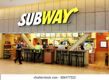 TORONTO, CANADA - MAY 29, 2014 : A subway fast food restaurant on May, 29, 2014 in Toronto, Ontario, Canada. Subway restaurant is one of the fastest growing franchises in the world.