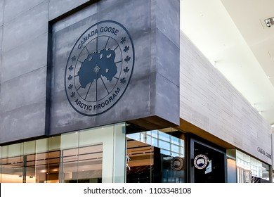 Toronto, Canada - May 29, 2018: Sign of Canada Goose on the store in the mall in Toronto. Canada Goose Inc. is a Canadian manufacturer of outwear apparel.