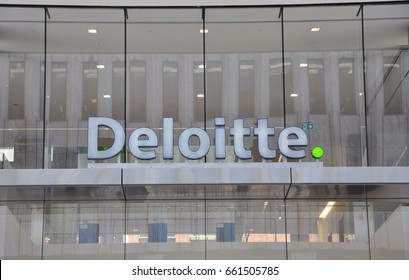 Toronto, Canada - May 30, 2017: Deloitte sign in front of the building in Toronto.
