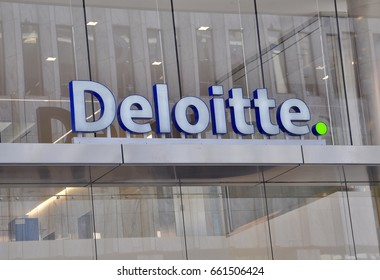 Toronto, Canada - May 30, 2017: Deloitte signage in front of the building in Toronto.