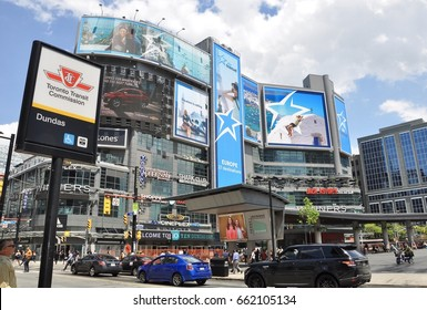 Toronto, Canada - May 30, 2017: Busy Dundas and Yonge streets in downtown Toronto.