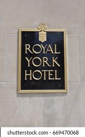 Toronto, Canada - May 30, 2017: Signage of Royal York Hotel.