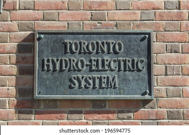 TORONTO, CANADA - MAY 31, 2014: A sign for Toronto Hydro Electric System in central Toronto