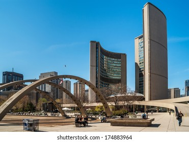 TORONTO, CANADA - MAY 4, 2007: Building of new City Hall on Nathan Phillips Square- home of municipal government of Toronto, Ontario. It was designed by architects Viljo Revell and Richard Strong.
