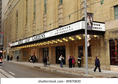 TORONTO, CANADA - NOV 30:  Historic Maple Leaf Gardens, closed since 1999, was reopened to the public as a retail center and a future athletic center for Ryerson University on  Nov 30, 2011 in Toronto, Canada.