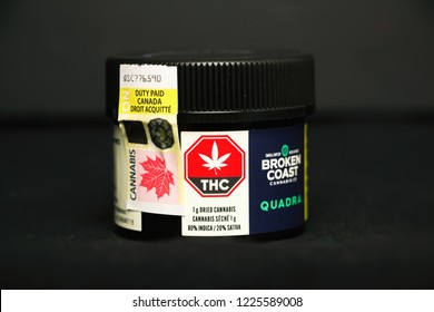 TORONTO, CANADA - NOV 9, 2018: Retail cannabis in original packaging. Broken Coast brand by Aphria, licensed providers of legal marijuana in Canada.