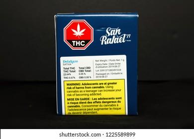 TORONTO, CANADA - NOV 9, 2018: Retail cannabis in original packaging. San Rafael '71 by Medreleaf, licensed providers of legal marijuana in Canada.