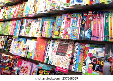 TORONTO, CANADA - NOVEMBER 02, 2014: Children drawing and coloring books on shelves in a bookstore on November 02, 2014 in Toronto, Ontario, Canada.