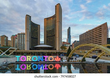 TORONTO, CANADA - NOVEMBER 07, 2017: Nathan Phillips Square and  Toronto City Hall - New City Hall during preparations for winter holiday events
