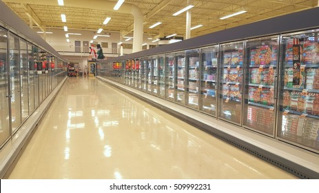 TORONTO, CANADA - NOVEMBER 1, 2016: The frozen food aisle in a supermarket in Toronto, Canada.