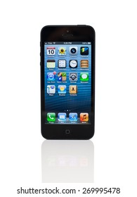 TORONTO, CANADA - NOVEMBER 10, 2012: An iPhone 5 with white background.