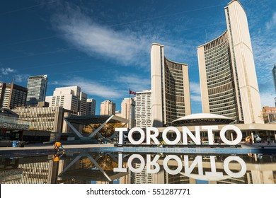 TORONTO, CANADA - NOVEMBER 11, 2016: Nathan Phillips Square and the new City Hall in Toronto, Canada.