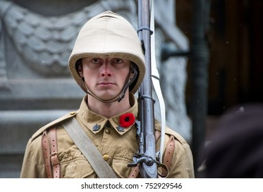 TORONTO, CANADA- NOVEMBER 11, 2017:Remembrance Day. Honor guard dressed as a First World War Soldier. The ceremony is held every year to honour our soldiers