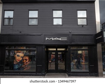 TORONTO, CANADA - NOVEMBER 13, 2018: Mac Cosmetics logo on their main store for downtown Toronto, Ontario. Mac is a cosmetics shop brand from Canada part of Estee Lauder group