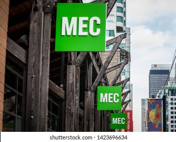 TORONTO, CANADA - NOVEMBER 14, 2018: MEC logo in front of their main store for Toronto, Ontario. Mountain Equipment Co-op is a cooperative specialized in outdoor gear and clothing