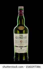 TORONTO, CANADA - NOVEMBER 14, 2019: The Glenlivet is a distillery near Ballindalloch in Moray, Scotland that produces single malt Scotch whisky. It is the oldest legal distillery in the parish.