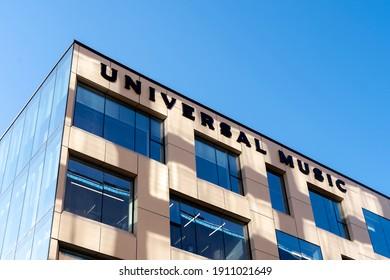 Toronto, Canada - November 14, 2020: Universal Music sign on the building in Toronto, Canada. Universal Music Group is an American global music corporation.