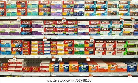 TORONTO, CANADA - NOVEMBER 16, 2017: Off the counter medicines on pharmacy shelves.