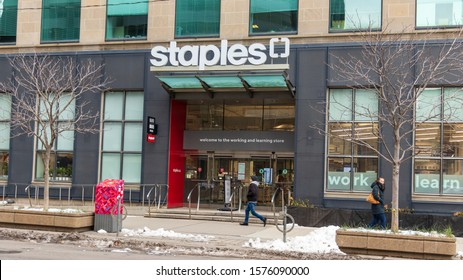 TORONTO, CANADA - November 16, 2019: Newly remodeled Staples store-front location in downtown Toronto.