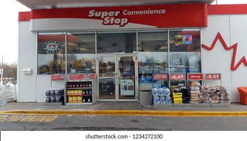 TORONTO, CANADA - NOVEMBER 18, 2018: A gas station store exterior in Ontario, Canada.
