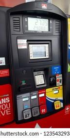TORONTO, CANADA - NOVEMBER 18, 2018: Pump at a gas station in Toronto, Canada.