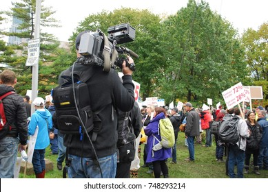 TORONTO, CANADA: November 2 2017 - CBC News Cameraman, Media Reporter, Education Reform Rally At Queens Park, Government Building Protest With Students Who Cannot Afford University And College Studies